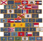 All 50 US State Embroidered Flag Patches, style 08.